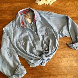 vtg Wrangler Womens chambray button down XL